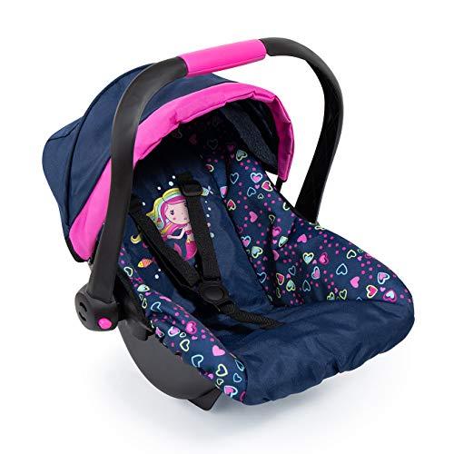 Bayer Design 67917AA Silla de Coche para muñeca Easy Go, Accesorios, Asiento para bebé muñecos con cinturón de Seguridad, Azul, Rosa, Sirena