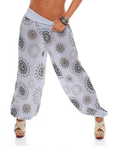 ZARMEXX Fashion Zarmexx Damen Pumphose Harem-Stil Sommerhose Einheitsgröße (36-42), Hellgrau