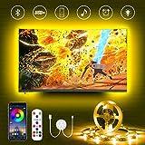 Hamlite TV Hintergrundbeleuchtung für 50 55 Zoll Fernseher, 3.5m Bluetooth LED Strip, Sync mit Musik, RGB LED Streifen mit Fernbedienung und App Steuerung, USB-Betrieb, für TV/PC Monitor, Spielzimmer