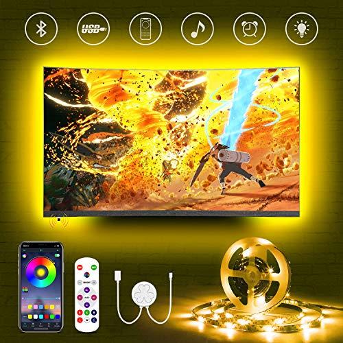 LED TV Hintergrundbeleuchtung für 50 55 Zoll Fernseher,Hamlite 3.5m Bluetooth LED Strip,Farbwechsel Sync mit Musik,USB RGB LED Streifen mit Fernbedienung und App Steuerung, für TV/PC Monitor