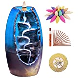 Sweet Alice Incense Burner, Ceramic Backflow Incense Holder, Home Decor Aromatherapy Ornament, with 150 pcs Incense, Cushion, Artificial Lotus Leaf