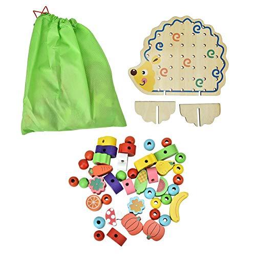 Forma Riccio Giocattolo di Blocchi di Threading Perline di Legno Pile Up Beads Gioco Frutta Colore Giocattoli Coordinati Giocattolo Cognitivo Compleanno Natale Regalo per 3 4 5 6 7 8 Anni Bambini