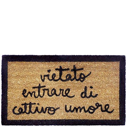 laroom Zerbino con Scritta Vietato Entrare di Cattivo Umore, Superficie in Iuta e Base Antiscivolo, Marrone, 40x 70x 1,8cm