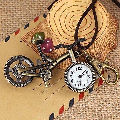 FENKOO Unisex Vintage fahrradförmigen runden Zifferblatt Leder&Legierungsquarz Halskette/Schlüsselbund Uhr grüne Patina (1pc)