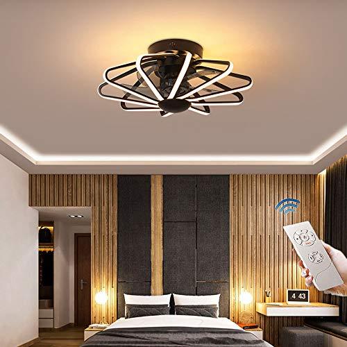 CAGYMJ Ventilador De Techo con Iluminación De Techo LED Luz Velocidad del Viento Ajustable Control Remoto Ultra Silencioso Ventilador De Tiempo Candelabros Luces De Ventilador De Dormitorio,Negro