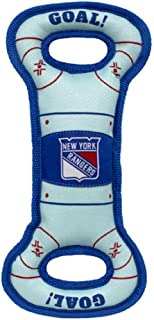 NHL New York Rangers Hockey Field Dog Tug Fetch Squeak Chew Toy