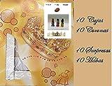 10 Cajas 40 cm x 40 cm, 10 Coronas, 10 Habas,10 Regalos Sorpresas para Roscón de Reyes