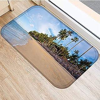 HLXX Sea Beach Scenic Pattern Anti-Slip Suede Carpet Door Mat Doormat Outdoor Kitchen Living Room Floor Mat Rug A11 40x60cm
