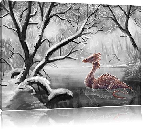Pixxprint Drache im schneebedeckten Wald als Leinwandbild   Größe: 100x70 cm   Wandbild   Kunstdruck   fertig bespannt