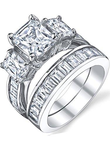 Ultimate Metals anello di fidanzamento in argento 925 con 2 carati pietra di zirconio taglio radiante - fede nuziale in argento con pietra di zirconio taglio radiante