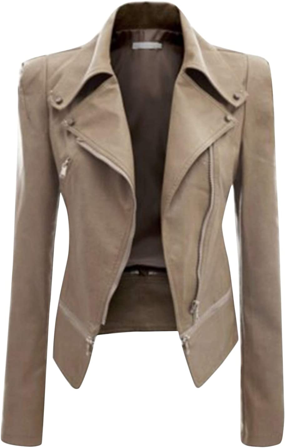 Uaneo Women's Notch Lapel Zip Up PU Leather Short Slim Moto Biker Jacket Coats (Apricot, X-Large)