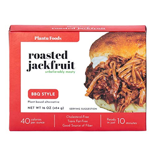 Plantu Foods Roasted Jackfruit, BBQ Style, Fully Cooked, Trans Fat-Free, Cholesterol-Free Plant-based Alternative (16 ounce)