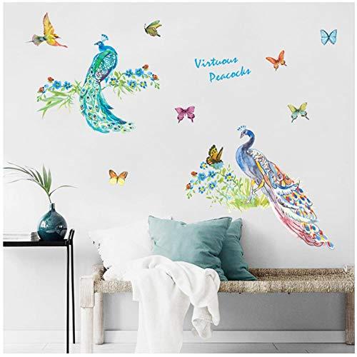 Zhaoyangeng Kleurrijke Peahen Vogel en vlinder sticker muurschildering woonkamer studie behang slaapkamer bank achtergrond decoratie verwijderbare sticker