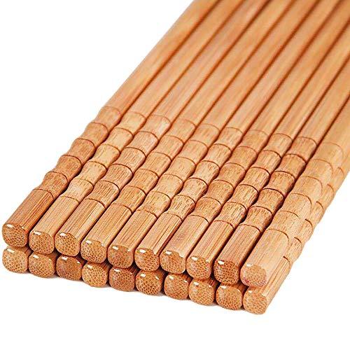 RAYNAG 10 Pair Natural Bamboo Wooden Cooking Chopsticks 9.4in Long Reusable Chopsticks Dishwasher Safe, for Noodles Sushi
