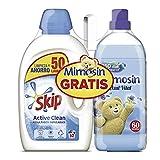 Skip & Mimosín Detergente Líquido y Suavizante Concentrado Pack Ahorro Active Clean + Azul Vital 50 + 60 lavados