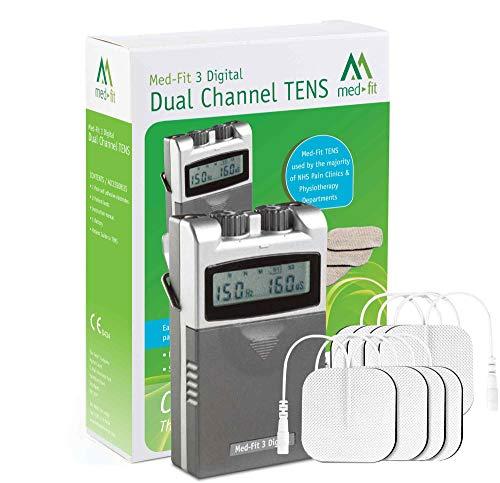 Med-Fit 3 Electrostimulador Máquina TENS digital 2 canales. Alivio rápido y eficaz del dolor. Ideal para uso en su hogar. ⭐