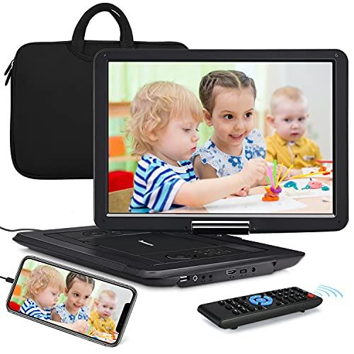 Naviskauto 17,5'' Lecteur DVD Portable Voiture Grand Ecran 16 Pouce pour Enfant avec Sacoche de Transport Supporte HDMI Input,Vidéo Full HD, AV in/Out,Region Libre,Dernière mémoire
