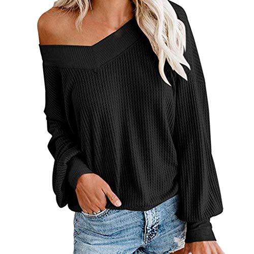 SHE.White Pullover Damen Sexy Cold Shoulder Strickpullover Elegant Einfarbig Kontrastfarbe Tops Pulli Frühling Herbst Sweatjacke Hoodie Oberteile