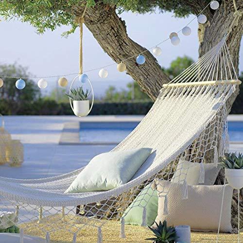Dubbele Hangmat 2 Personen Oversized Canvas Puur Katoen Hangmat Voor Terras Veranda Tuin Achtertuin, Kan Buiten En Binnen Liggen