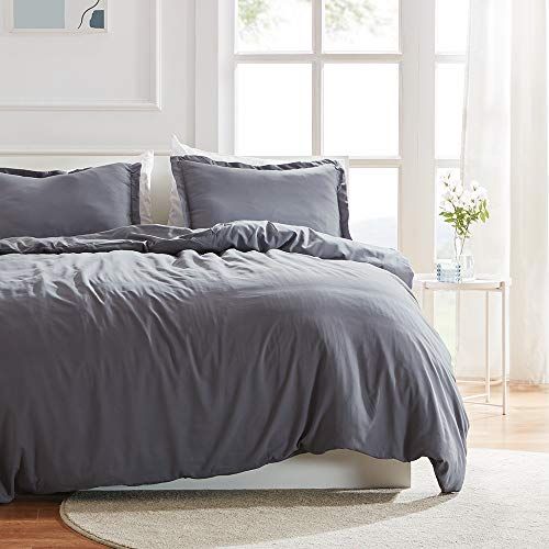 SLEEP ZONE Bedding Duvet Cover Sets 104x90 inch Temperature Management 120gsm Ultra Soft Zipper Closure Corner Ties 3 PC, Gray,King