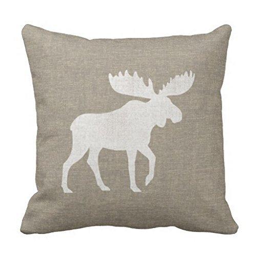 Kissen 45x 45cm für Deko Elch Silhouette Überwurf Kissen für Couch quadratisch Kissen mit Reißverschluss Leinwand Kissenbezüge