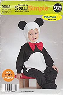 Simplicity Sewing Pattern 0892 Toddlers Boys Girls Size ½-4 Easy Costumes Panda OOP HTF