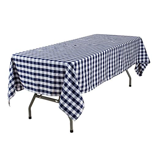 YRYIE 60 x 102 Inch Rectangle Polyester Plaid Tablecloth Navy Blue Gingham for Rectangular Table Washable Solid Checkered Table Cover for Buffet Table,Holiday Dinner,Parties/Xmas