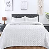 Lucian White Quilt Set Full/Queen Size, Geometric Pattern Stitched Bedspread, Lightweight Breathable Summer Comforter Coverlet Sets for All Season, 1 Quilt (90'x98') and 2 Pillow Shams…
