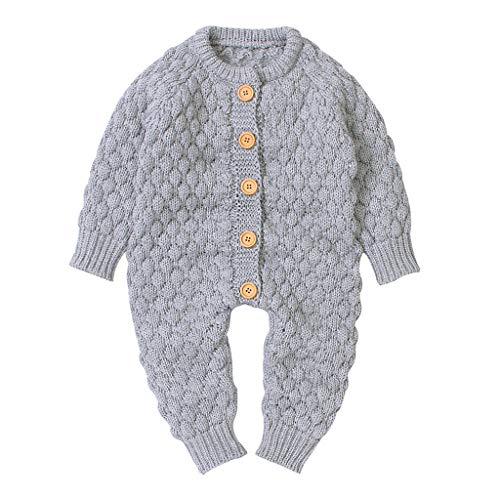 DWQuee ❤️ Baby Strickpullover Strampler, Neugeborene Junge Mädchen Winter Knopf Pullover Strickoverall Warme Outfits (0-24 Monate)