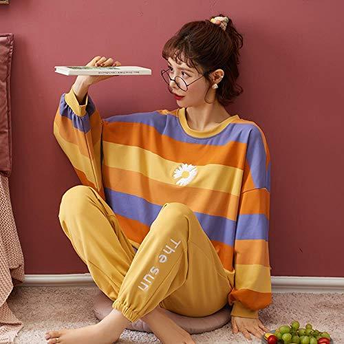 ZXXFR Damen Schlafanzug Zweiteilige Langarmhose aus Baumwolle mit Rundhalsausschnitt...