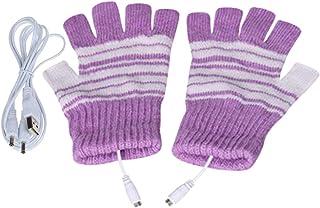 暖房手袋 USB接続で加熱 あったか手袋 パソコン作業 PC モバイルバッテリーなど 洗えるUSBヒーター手袋 男女兼用 防寒対策 ヒーター手袋 指先 温かい ヒーター内蔵 ハンドウォーマー (パープル)