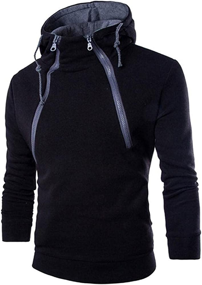KEEYO Mens Colorblock Hoodie Sweatshirt Casual Lightweight Thin Banded Collar Stylish Athletic Hooded Pullover Outerwear