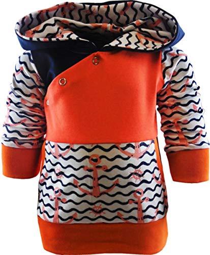 KLEINER FRATZ Baby/Kinder Kaputzen Langarm Hoodie Shirt ANKERDESIGN mit Bauchtasche (Farbe Anker rosa/Welle Navy/Bund orange) (Größe 60/66)
