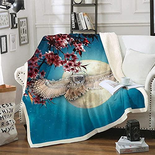 Manta de felpa con diseño de caballo, diseño de estrellas de luna, para niños, adolescentes, adultos, flor de cerezo, sherpa, manta de forro polar indio, para sofá, tamaño doble, morado