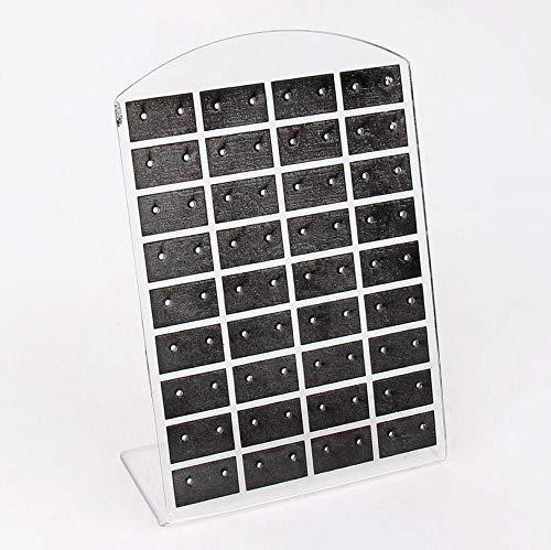 Soporte para pendientes y joyas, de plástico, práctico y encantador, organizador de pendientes (color: 36 pares negro transparente)