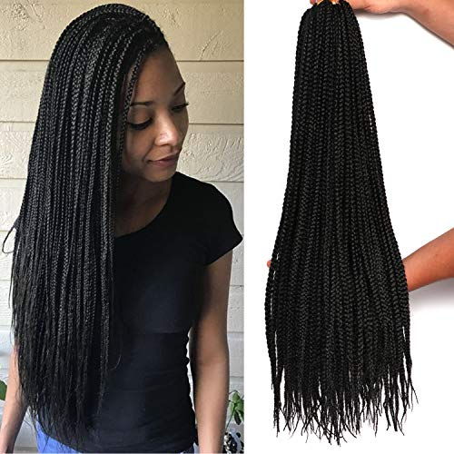 7 Packs 22 Inch Goddess Box Braids Crochet Hair Prelooped Crochet Hair Crochet Braids box braid crochet hair crochet braids hair for black women Jumpo Braiding Hair (22 Inch, 1B)