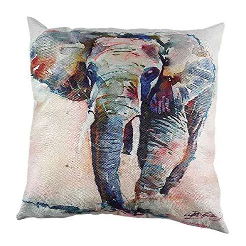 ACAMPTAR 45 Cm X 45 Cm ImpresióN de Lavado de Tinta Funda de CojíN de Elefante Funda de Almohadas Decorativas de Animales para Coche Sofá para el Hogar Sofá Funda de Almohada Azul Marino D