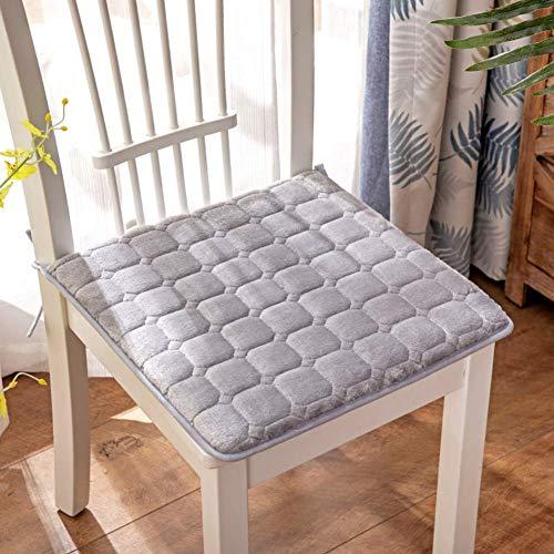 XHNXHN Cojines de terciopelo para silla de comedor con lazos, transpirables cojines de asiento para sillas cojines de asiento para decoración interior del hogar cojines acolchados gris 25 x 35 cm