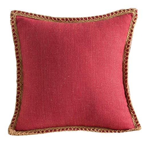 NLRHH Caja de Almohada Decorativa de Estilo nórdico Caja de Almohada de Lino de Lino Recortado Recortado Bordes a Medida de Color sólido Cubierta DE CUJIZACIÓN Peng (Color : Rose Pink)