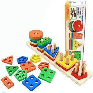 ألعاب الأطفال ثلاثية الأبعاد متعددة الألوان لبنات البناء الخشبية للأطفال