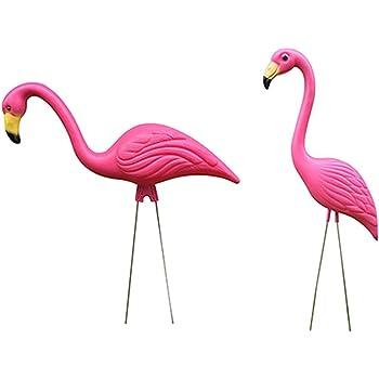 2個 生き生き フラミンゴ 置物 芝生 ガーデンオーナメント 庭の装飾 ピンク プラスチック製