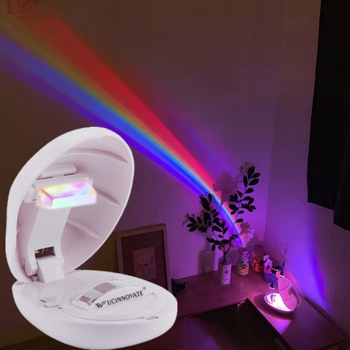 UCIN Neon Lights Rainbow Projector with 3 Modes Art Rainbow Light Portable Night Light, Indoor Wall Decor for Christmas Gifts, Kids Room, Living Room, Party Decoration