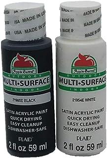 Apple Barrel Satin Acrylic Multi-Surface Paint Set - Black and White (2 Ounces Each)