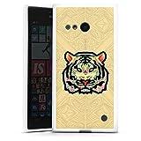 DeinDesign Silikon Hülle kompatibel mit Nokia Lumia 735 Hülle weiß Handyhülle Tiere Baro Sarré Tiger