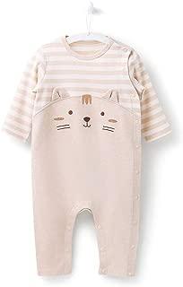 Newborn Baby Boy Romper Bodysuit Striped Pattern Cotton Summer Button Design Unisex Baby Clothes Onesies (0-3-6 Month)