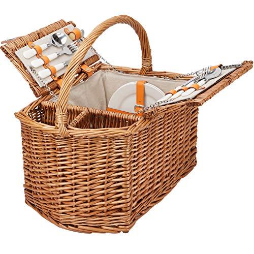 HappyPicnic Wicker Picknickkorb Set für 2 Personen Weidenkorb mit festem Griff und 2 Weinfach für das Leben im Freien