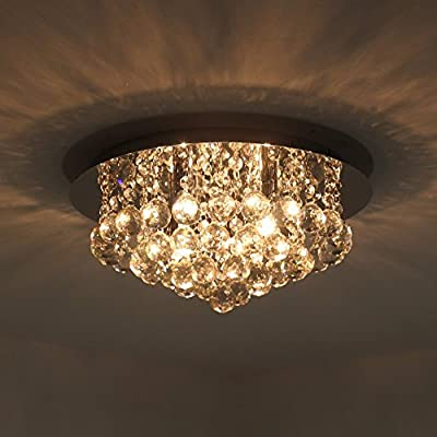 NATSEN Modern Ceiling Lights Crystal Flush Mount Ceiling Light Fixture for Kitchen Bedroom Dining Room