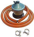 Regulador gas butano Con Salida de 30 mbar + tubo goma 1.5 metros + 1 abrazadera, Kit Homologado de Manguera Butano y Regulador de Gas butano