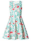 Adicreat - Vestido sin mangas para niña, con cuello redondo, estampado, vestido informal o para fiestas Flamencos A 6-7 Años