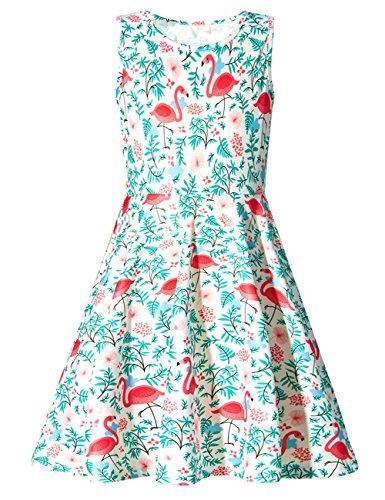 Adicreat Mädchenkleid, ärmellos, Rundhalsausschnitt, niedlich, lässig, bedruckt, Partykleid, Sommerkleid Gr. 8-9 Jahre, A-Flamingos